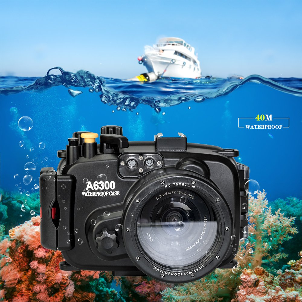 Sea frogs for Sony a6300 130FT/40M Underwater Case Camera Diving Waterproof Housing case by Sea frogs