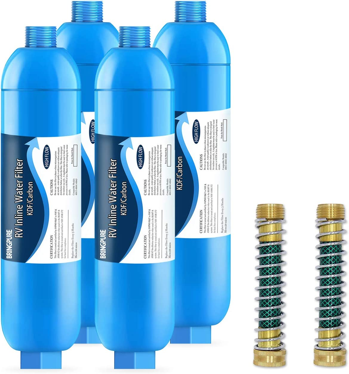 Reduces Chlorine 40041 Bringpure RV Inline KDF Water Filter with Flexible Hose Protector Fluoride and Bad Taste 40043 Lead Compatible with Camco 40013 Odor 4 Packs NSF Certiified