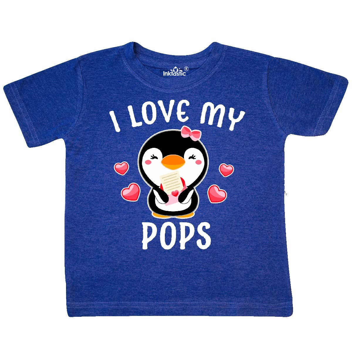inktastic I Love My Pops with Cute Penguin and Hearts Toddler T-Shirt