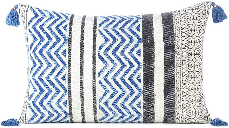 Amazon Com Eyes Of India 16 X 24 Black Blue Dhurrie Printed Colorful Decorative Pillow Cover Case Throw Lumbar Long Bolster Sofa Cushion Couch Bohemian Accent Indian Boho Chic Seating Handmade Cover