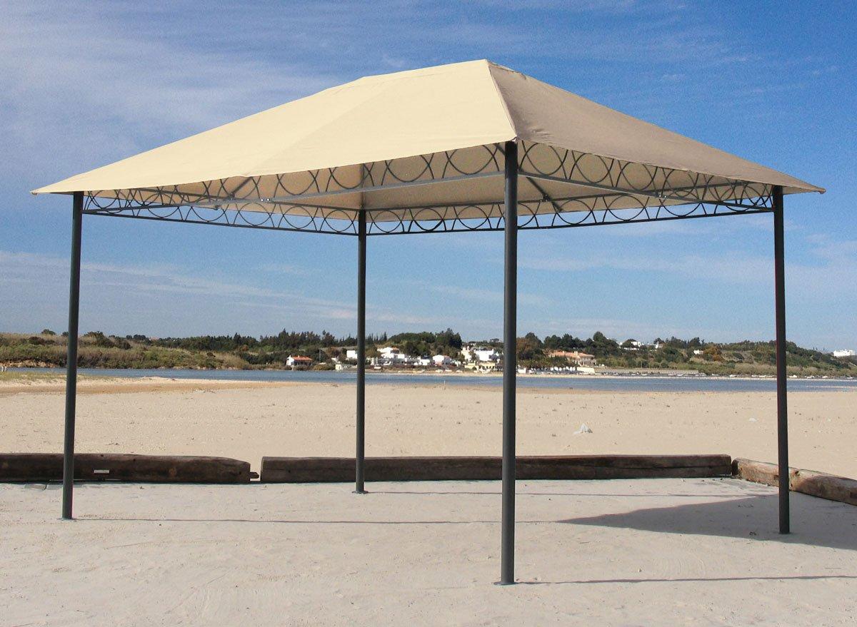 Grasekamp Stil Pavillon 3x4m Gartenpavillon Gartenzelt Festzelt Sand
