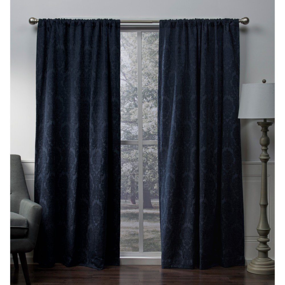 Exclusive Home tende Damask Medallion Heavyweight ciniglia jacquard Room Darkening rod Pocket Window Curtain panel, navy, 52x 213,4cm, set di 2 Textiles Almagamated Inc. EH8097-04 2-84R
