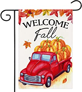Dsweesun Welcome Fall Garden Flag 12.5 x 19 Double Sided, Red Vintage Truck Retro Pumpkin Flag, Rustic Farmhouse Autumn Thanksgiving ​Front Porch Yard Outdoor Décor