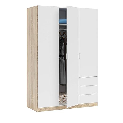Habitdesign LC1323F - Armario ropero de Tres Puertas y Tres cajones, Medidas 121 cm (Largo) x 180 cm (Alto) x 52 cm (Fondo) (Blanco Artik y Roble ...