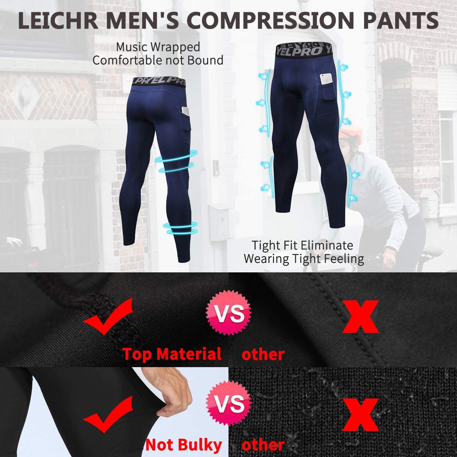 Cool Dry Baselayer Workout Gym Tights Compression Pants Running Tights Leggings LEICHR Mens Leggings with Pockets