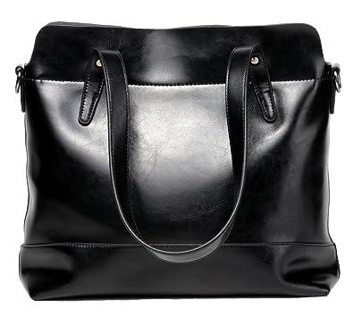 Dreubea Women s Genuine Leather Tote Shoulder Bag Large Capacity Handbag  with Strap Upgraded Black 21793ddf531bb