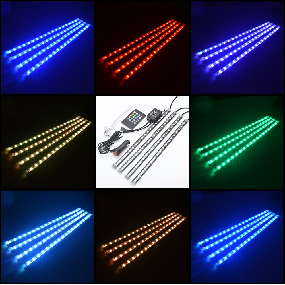 Amazon.com: 4 Pcs 8 Color RBG Sound Activated Interior Lighting Strip  W/Wireless Music Control Set: Automotive
