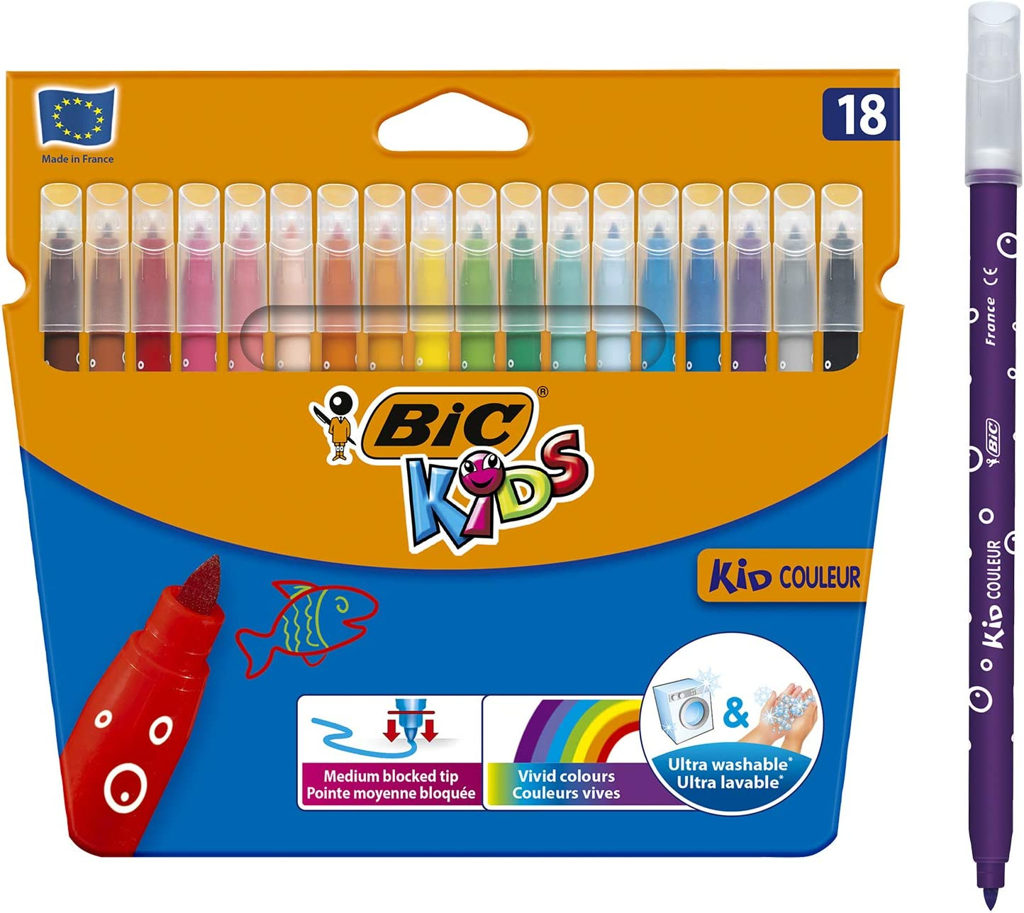 BIC Kids Kid Couleur Felt Tip Colouring Pens (Wallet of 18) 72% OFF £2.49 @ Amazon