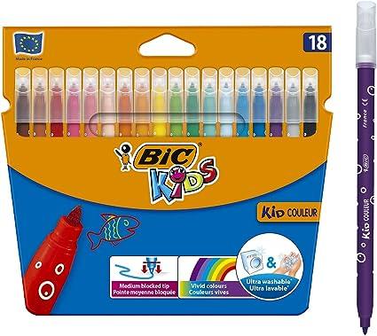 BIC Kids Kid Couleur Rotuladores Punta Media - Multicolor, Estuche de 18 Unidades: Amazon.es: Hogar