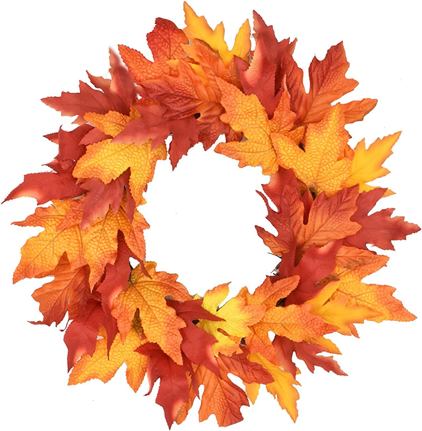 ZCFGUOI Artificial Maple Leaf Art Front Door Wreath, Gold Glitter Maple Leaf Wreath Front Door Fall Decoration for Farmhouse Home Wedding Party Indoor Outdoor Wall Decor