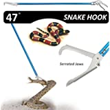 Fnova 47-inch Professional Standard Snake Tong Reptile Grabber Rattle Snake Catcher Wide Jaw Handling Tool with Blue Coating and Good Grip Handle