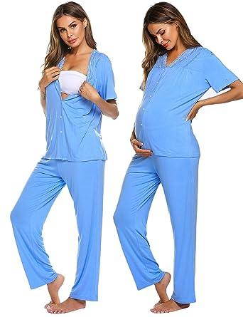 56e853e406 MAXMODA Damen Schlafanzüge Schlafanzug Sleepwear Pyajama Set V-Ausschnitt  Frühling Einfarbig Mit Knopfleiste Spitze Alle