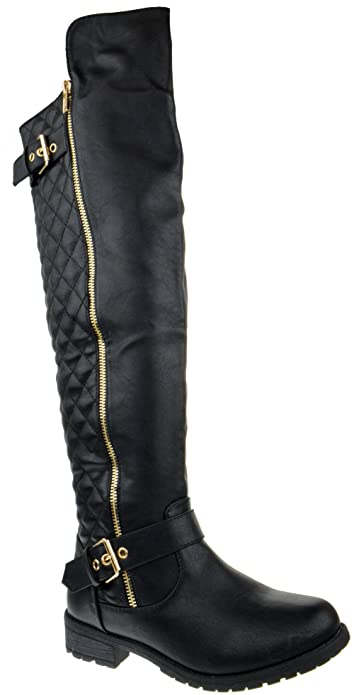 4c872840dec Forever Mango 41 Leather Knee High Quilted Boots Black 5.5