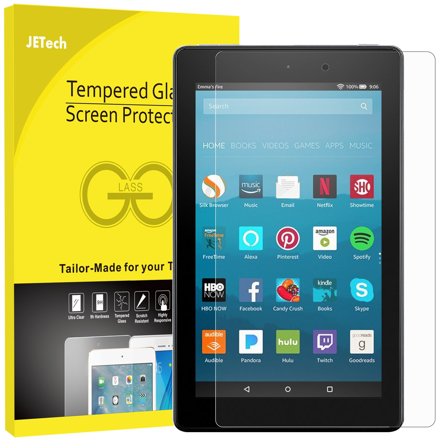 JETech Screen Protector for  Fire HD 8 (2018, 2017 and 2016 Model), Tempered Glass Film 0972