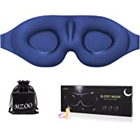 Sleep Eye Mask for Men Women, 3D Contoured Cup Sleeping Mask & Blindfold with Ear Plug Travel Pouch, Concave Molded Night Sleep Mask, Block Out Light, Soft Comfort Eye Shade Cover for Yoga Meditation