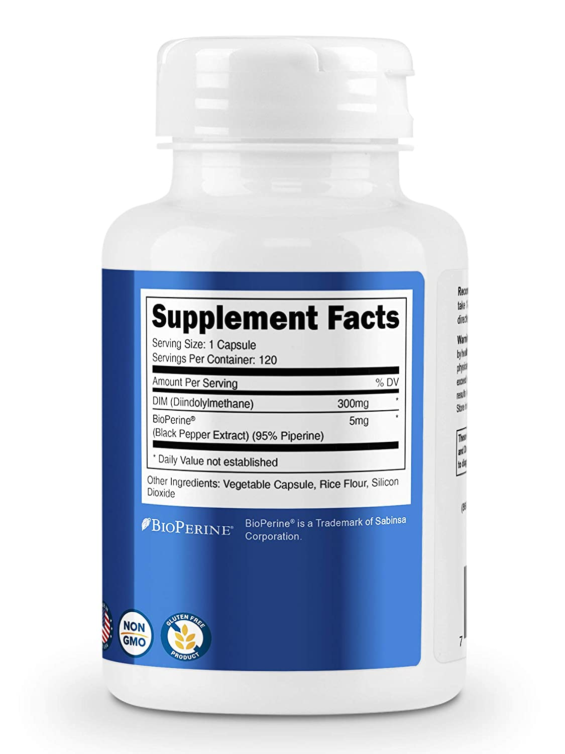 Nutricost DIM Diindolylmethane Plus BioPerine 300mg 120 Veggie Capsules  Up to 4 Month Supply Max