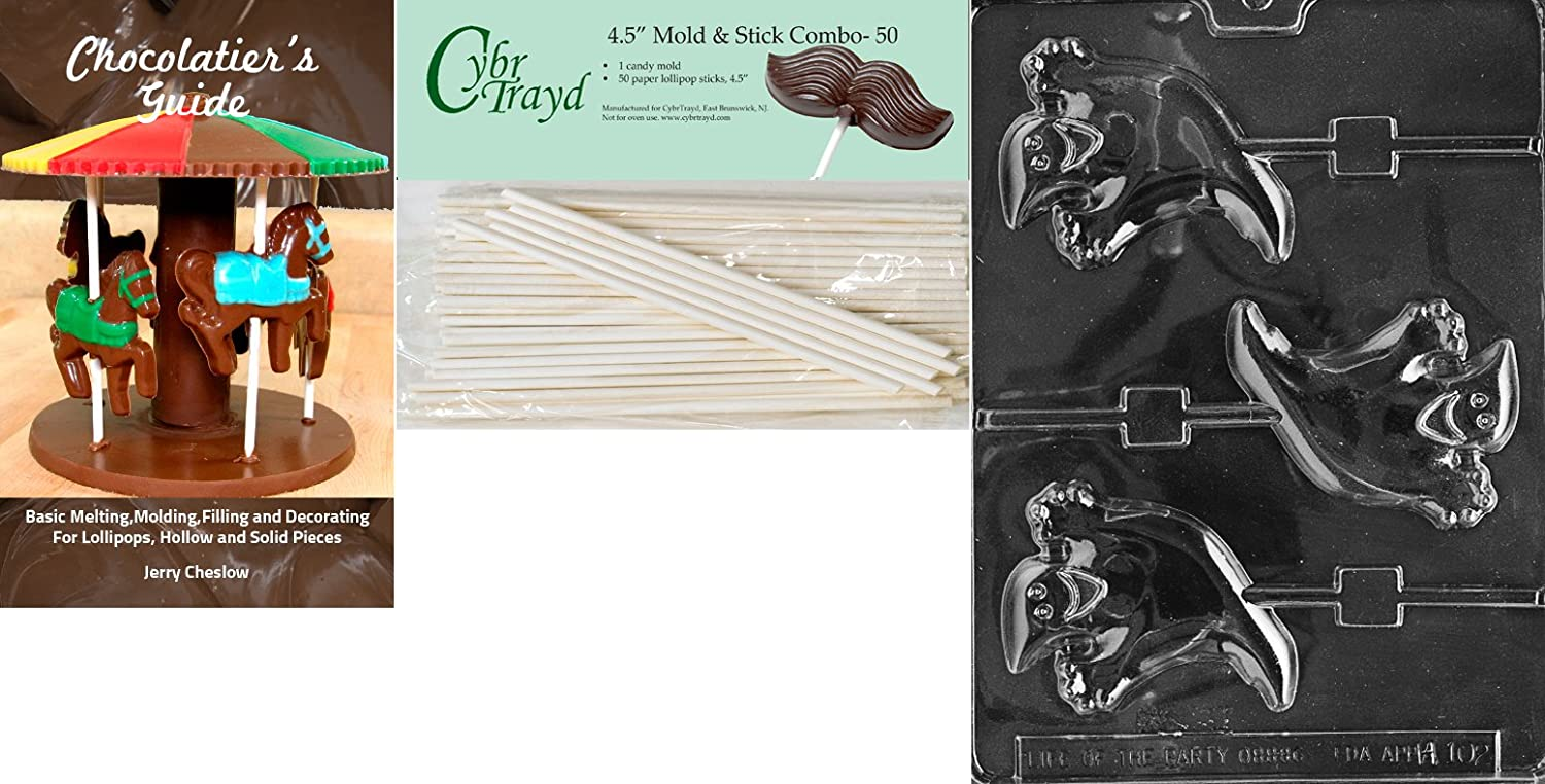 Cybrtrayd 45St25-H102 Happy Ghost Lolly Halloween Chocolate Candy Mold with 25 4.5-Inch Lollipop Sticks