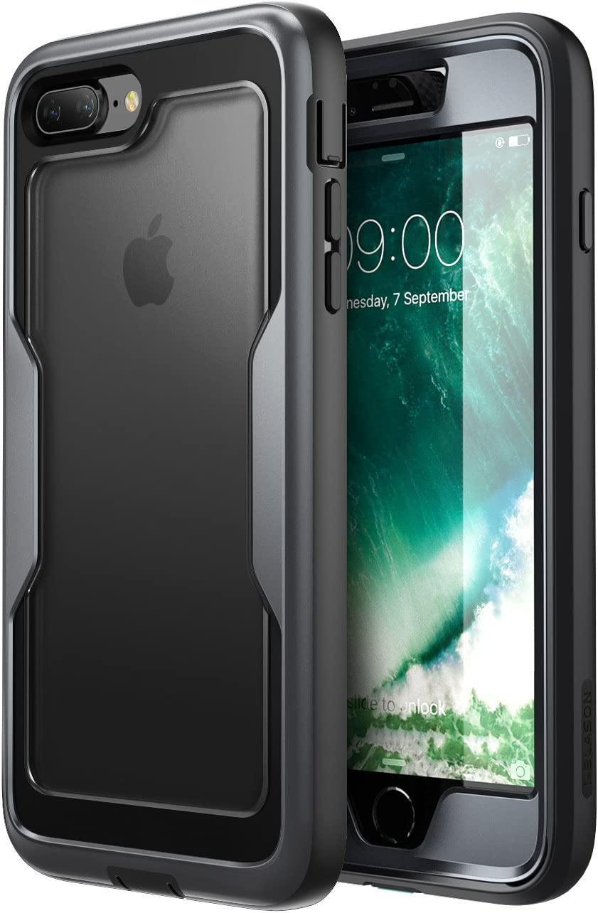 i-Blason Magma Series Case for iPhone 8 Plus 2017/iPhone 7 Plus, Heavy Duty Protection Full Body Bumper Case with Built-in Screen Protector, Includes Removable Beltclip Holster (Black)