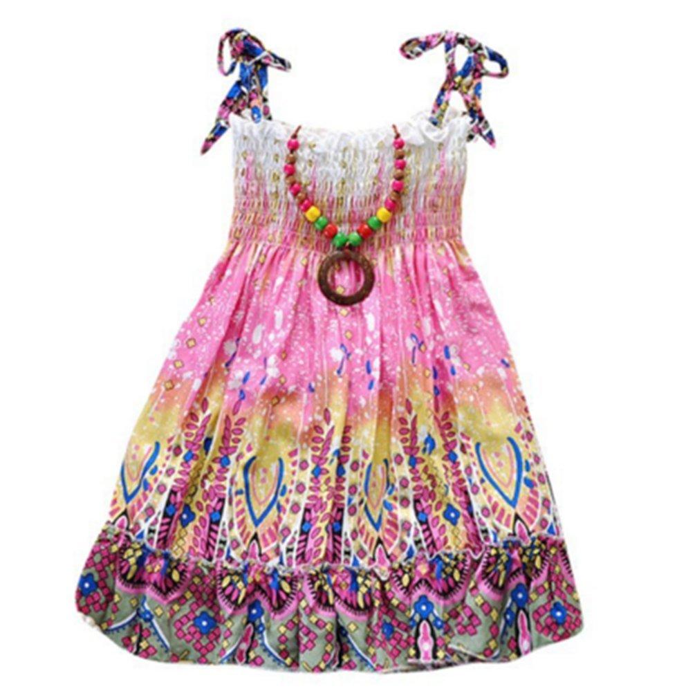 Kids Girls Summer Bohemia Boho Dress Floral Sleeveless Pleated Mini Dress with Necklace (4T, C)