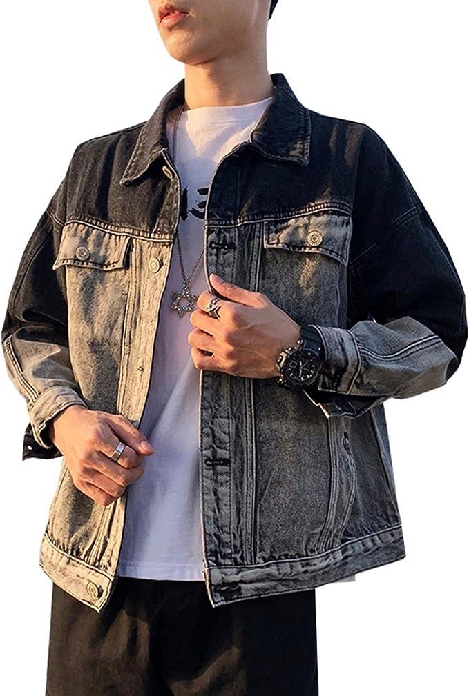 S-2XL デニムジャケット Gジャン メンズ 春秋 防風 防寒 大きいサイズ ゆったり ストレッチ ジージャン 合わせやすい カジュアル 通勤 通学 お出かけ ヴィンテージ グラデーション ブラック/ブルー