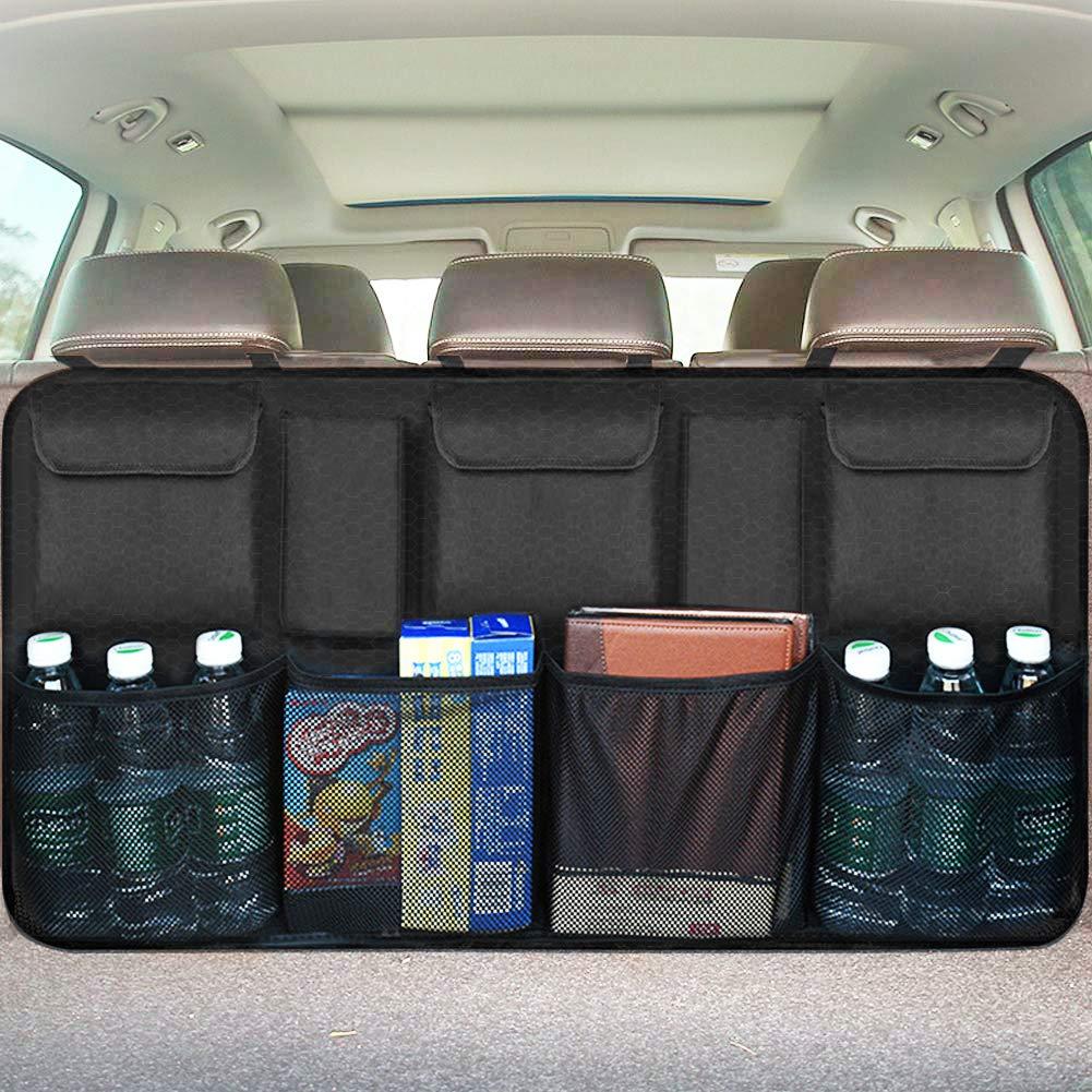 Van Organizers Back Seat Mesh Pockets 42 x 22-inch Car Backseat Trunk Organizer Auto Back Seat Trunk Storage Organizers for Truck SUV