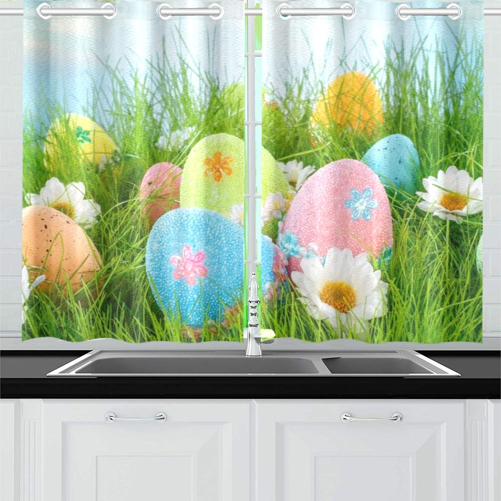 YUMOING Decorated Easter Eggs Grass On Blue Kitchen Curtains Window Curtain Tiers for Café, Bath, Laundry, Living Room Bedroom 26 X 39 Inch 2 Pieces