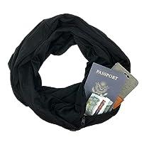 Infinity Scarf Wrap Shawl Scarf - Solid Unisex Fashion Black Womens Scarf for IPHONE Shrug with Black Zipper Pocket Infinity Scarves