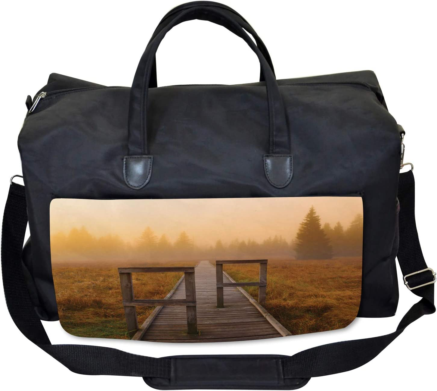Large Weekender Carry-on Foggy Day Fall Forest Ambesonne Nature Gym Bag