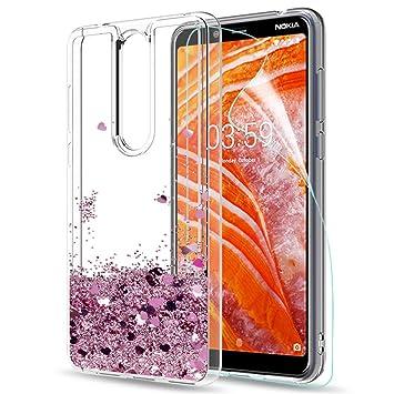 LeYi Funda Nokia 3.1 Plus Silicona Purpurina Carcasa con HD Protectores de Pantalla,Transparente Cristal Bumper Telefono Gel TPU Fundas Case Cover ...