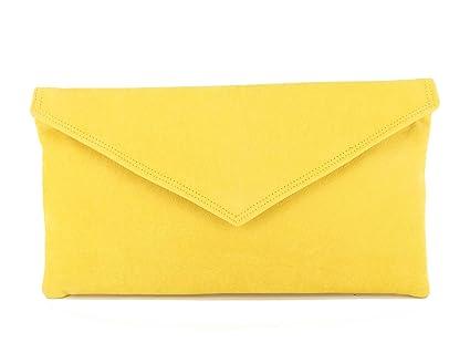 plus récent 4efb1 2535e Sac À Main Pochette Enveloppe Faux Daim en jaune: Amazon.fr ...