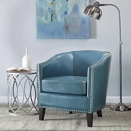 Madison Park Fremont Barrel Arm Chair Blue See Below
