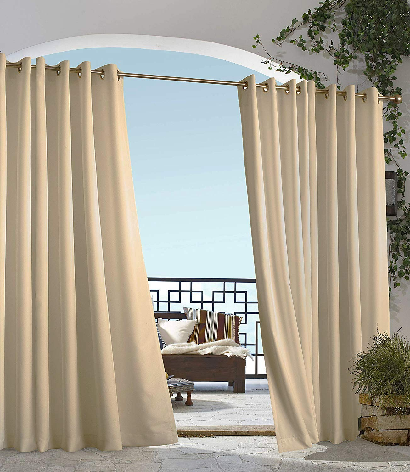 Outdoor Decor Commonwealth Gazebo 96'' Grommet Curtain Panel in Taupe
