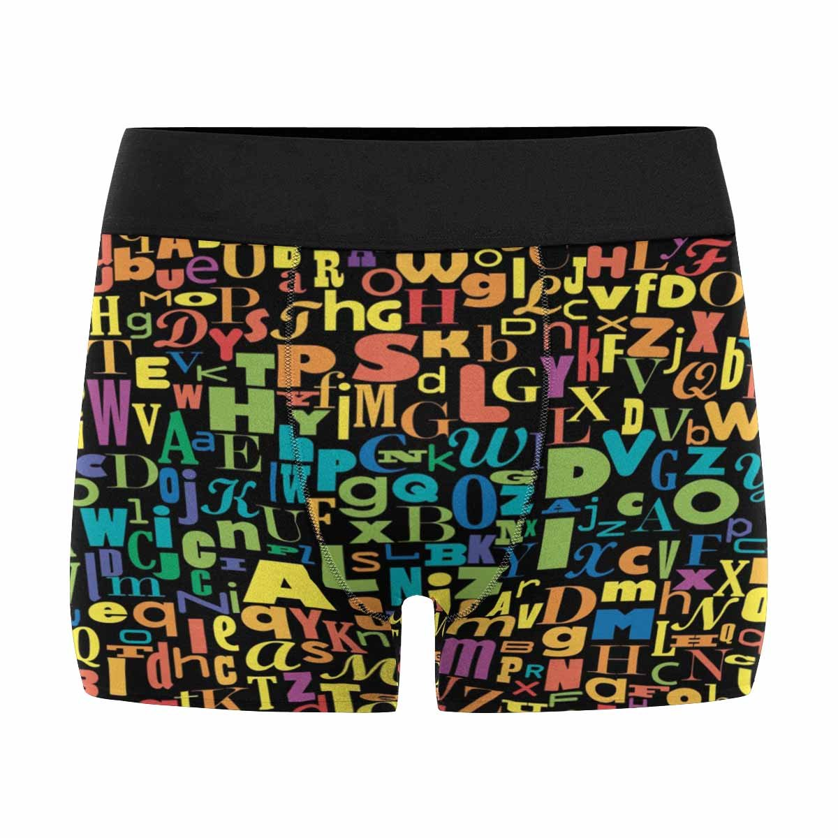 INTERESTPRINT Custom Mens Boxer Briefs Abstract Confuse Colorful Alphabet XS-3XL