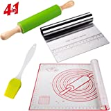"Pastry Mat With Rolling Pin Kit Cutter Scraper and Basting Brush Set: Large Silicone Non-Slip With Measurements Foundant For Baking Reusable Counter Non-Stick Mat and Dough Roller Pins (19""x23"")"