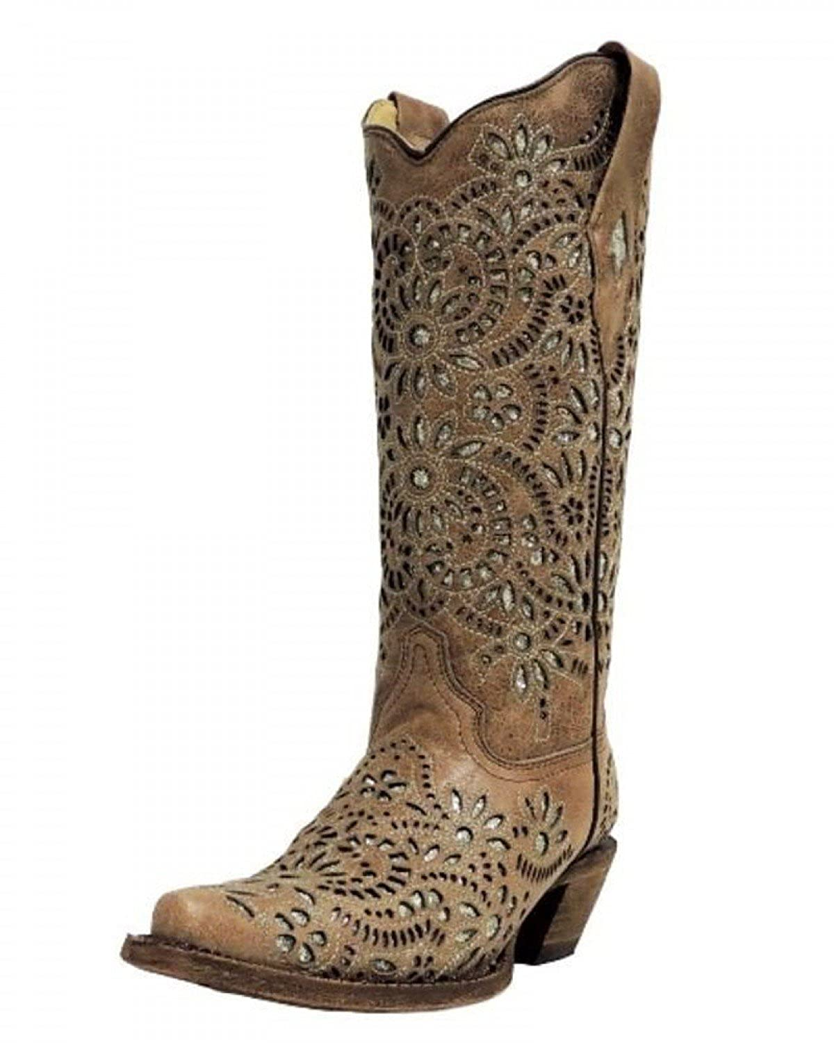 CORRAL Women's Brown with Glitter Inlay and Embroidery Snip Toe Cowgirl Boots A3352 B071P6YT3Z 9.5 B(M) US