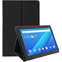 """Infomatica Store Folio Leather Case Cover with Stand Auto Sleep/Wake Feature for Lenovo Tab4 10"""" Inch 304-L (Black)"""