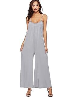 000d142ffa DIDK Women s Spaghetti Strap V Neck Sleeveless Wide Legs Jumpsuit Culottes