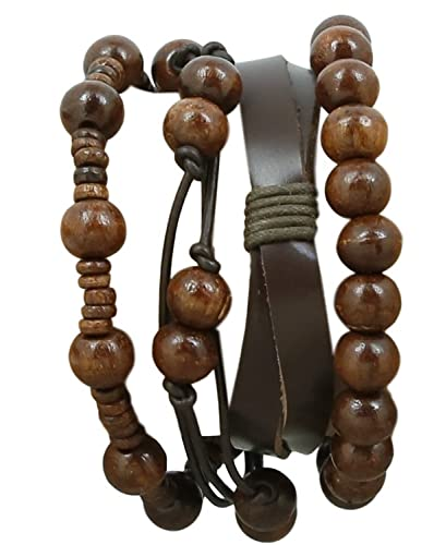ShalinIndia Indian Leather Rope Brown Bead Bracelet For Men