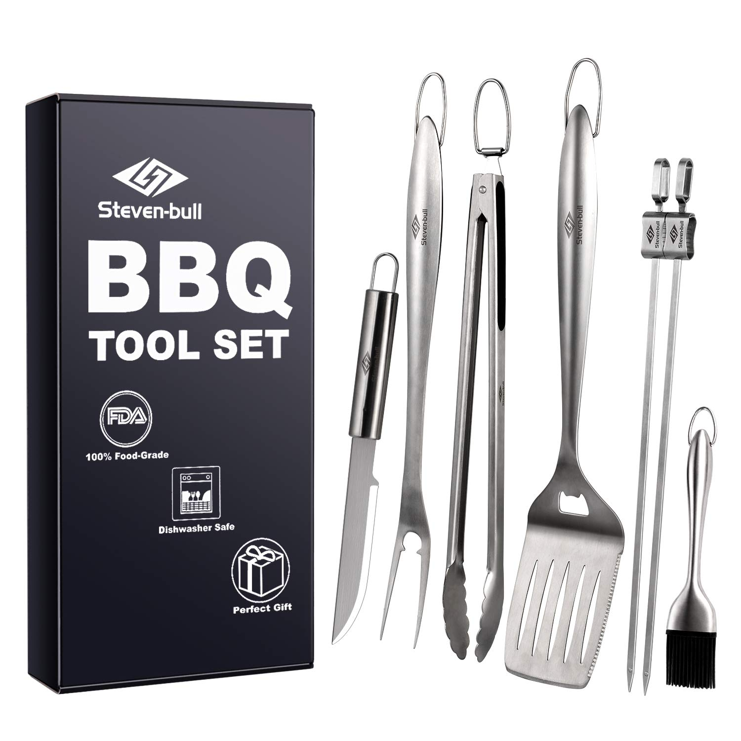 Heavy Duty BBQ Grilling Tool Sets, Extra Thick Stainless Steel Spatula, Tongs, Fork, Basting Brush, Knife and Skewers, Gift Box Package, Best for Barbecue Grill, 7 Pack Utensils Accessories