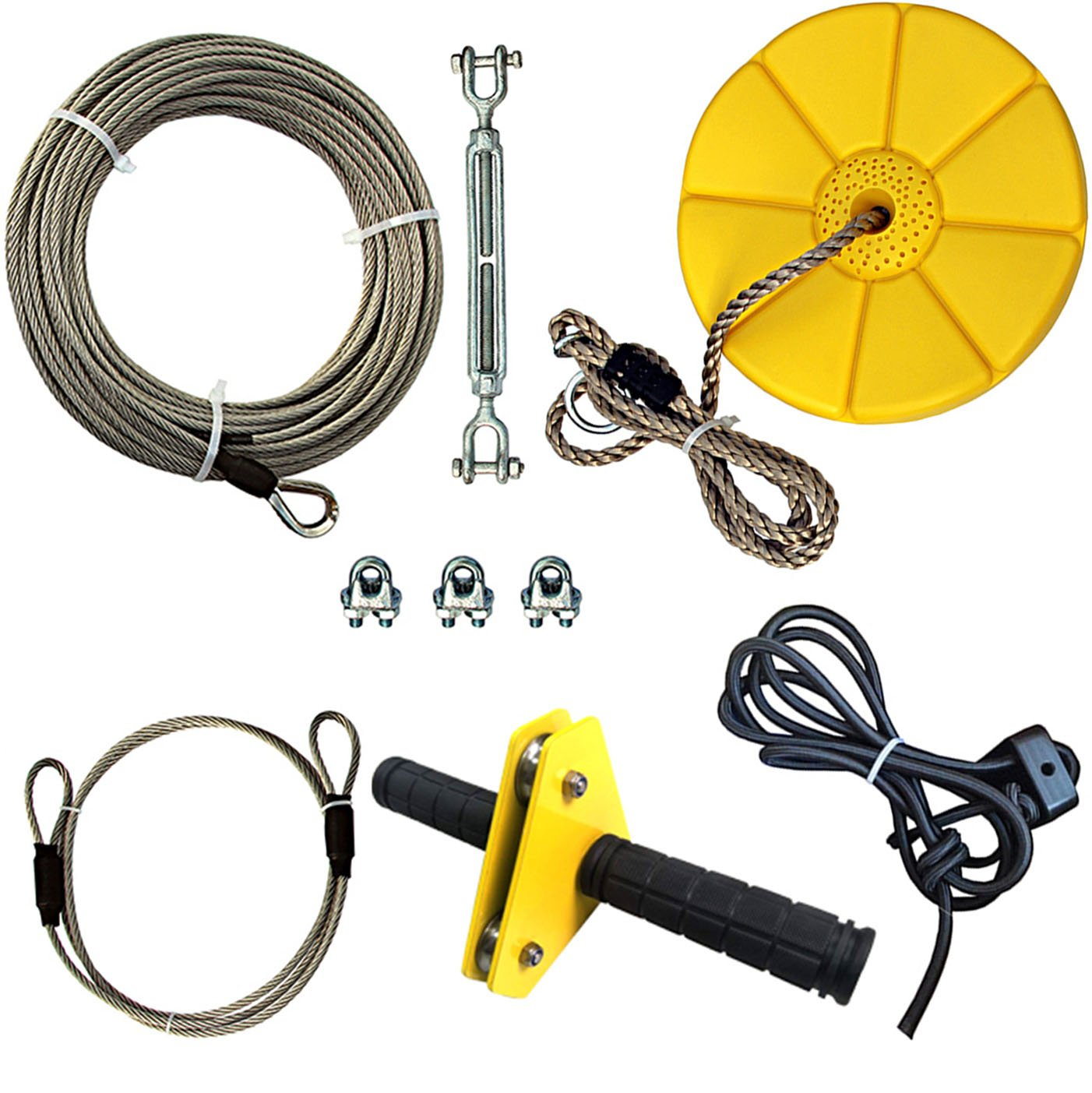 iZipline 95 Feet Zip line Kit with Seat and Bungee Brake, Speed Trolley Pulley with Grip Handle Bar, Zipline kit for Kids and Adults Backyard Playground Adventures Diamond Yellow