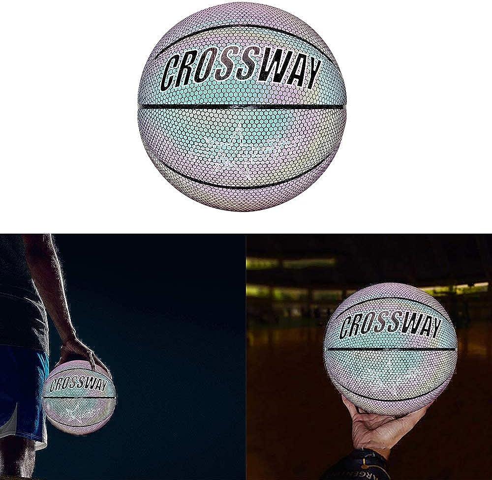 TiooDre Le Basket-Ball en Caoutchouc Basket-Ball Lumineux R/éfl/échissant Incandescent No.7 De Basket-Ball Olographique pour des Sports De Nuit Badine des Cadeaux De No/ël