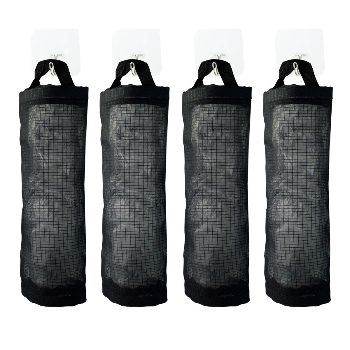 Garbage Bag Organizer,obmwang Pack of 4 Wall Mount Mesh Garbage Bag Holders with 4 Hooks, Hanging Folding Mesh Trash Waste Grocery Bag Storage Bag Dispenser Organizer Holder for Home and Kitchen