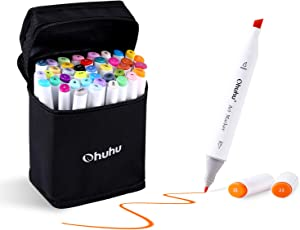 Ohuhu 40-Color Alcohol Marker, Dual Tips Permanent Art Markers for Kids, Highlighter Pen Sketch Markers for Drawing Sketching Adult Coloring, Alcohol-Based Markers, Bonus 1 Colorless Blender