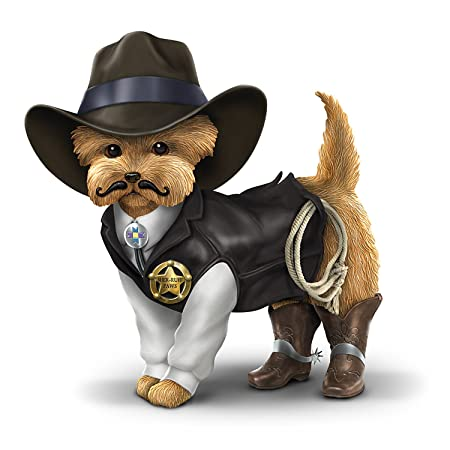 Cowboy Yorkie Collectible Figurine with Sheriff Uniform by The Hamilton Collection
