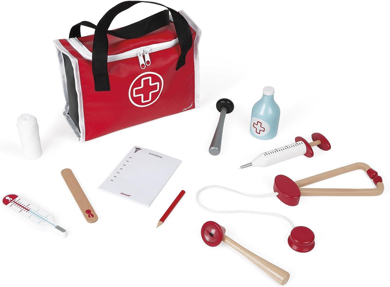 Janod - J06513 - Maletín de médico para niños con 10 accesorios de madera maciza incluidos, juego de simulación para niños a partir de 3 años, color rojo