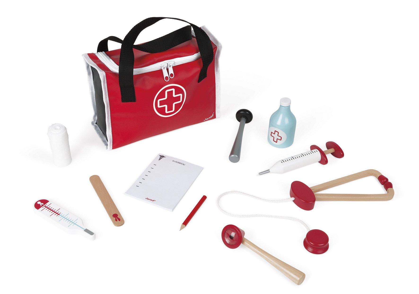 Janod Doctor's Suitcase - Classic Wooden Pretend Medical Playset - Durable First Aid Kit Includes Stethoscope and Travel Case - Develops Role Play and Imaginative Skills - Ages 3+ Years by Janod