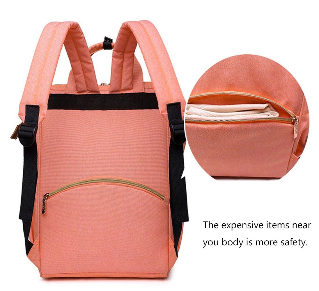 poliking mochila para pañales para cuidado del bebé, multifuncional para bebé pañal bolso cambiador con bolsillos, tela impermeable, gran capacidad rosa ...