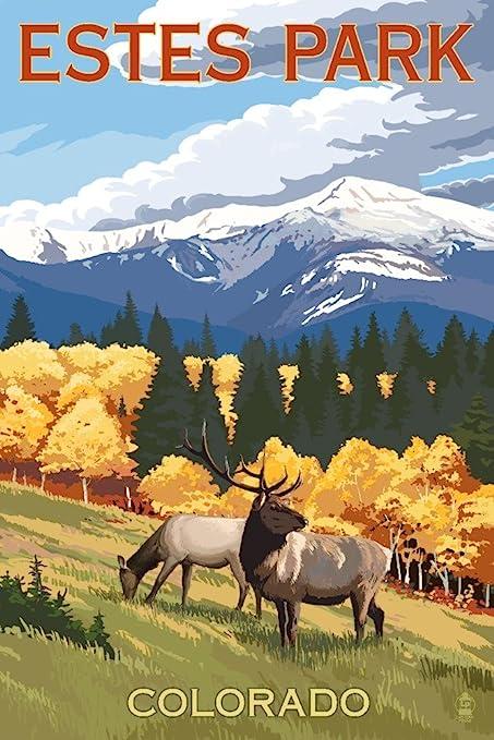 Amazon Com Estes Park Colorado Elk And Mountains 12x18 Art Print Wall Decor Travel Poster Posters Prints