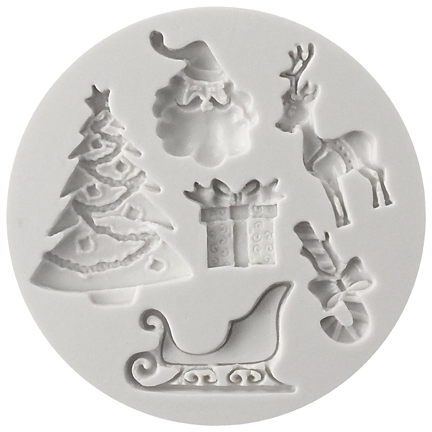 SANTAS ESSENTIALS SILICONE MOULD _ Chrismas Tree,Present,Reindeer,Candy Cane,Santa Claus, Food Grade Icing lace Mould, non stick Sugar paste, Chocolate, Fondant, Butter, Resin, Cabochon, Polymer Clay, fimo, gum paste, PMC, Wax, Soap Mold 132