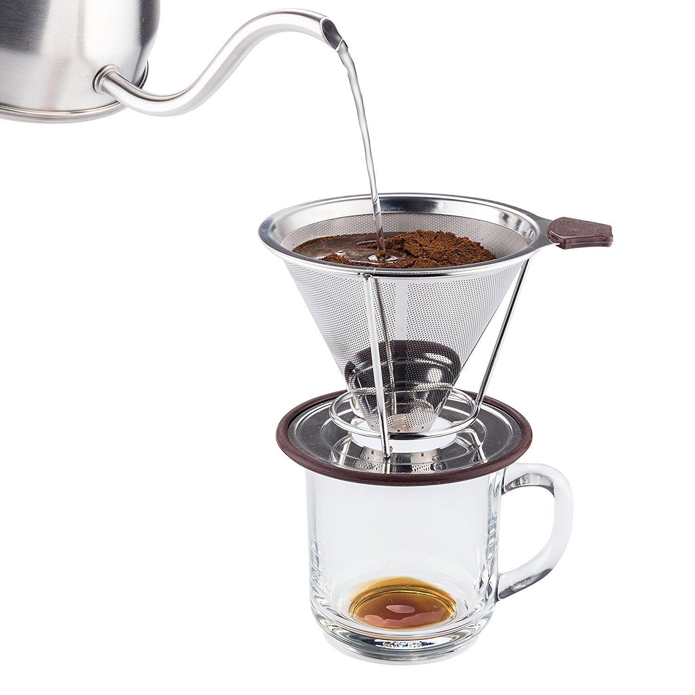 Hario Coffee Dripper Vd01t T V60 Server Kit Vcsd 02 R Meelio Pour Over Hervidor De Agua Y Tetera 1l Acero Inoxidable 18 8 Con Pico Cuello Cisne Precisin Para Preparar